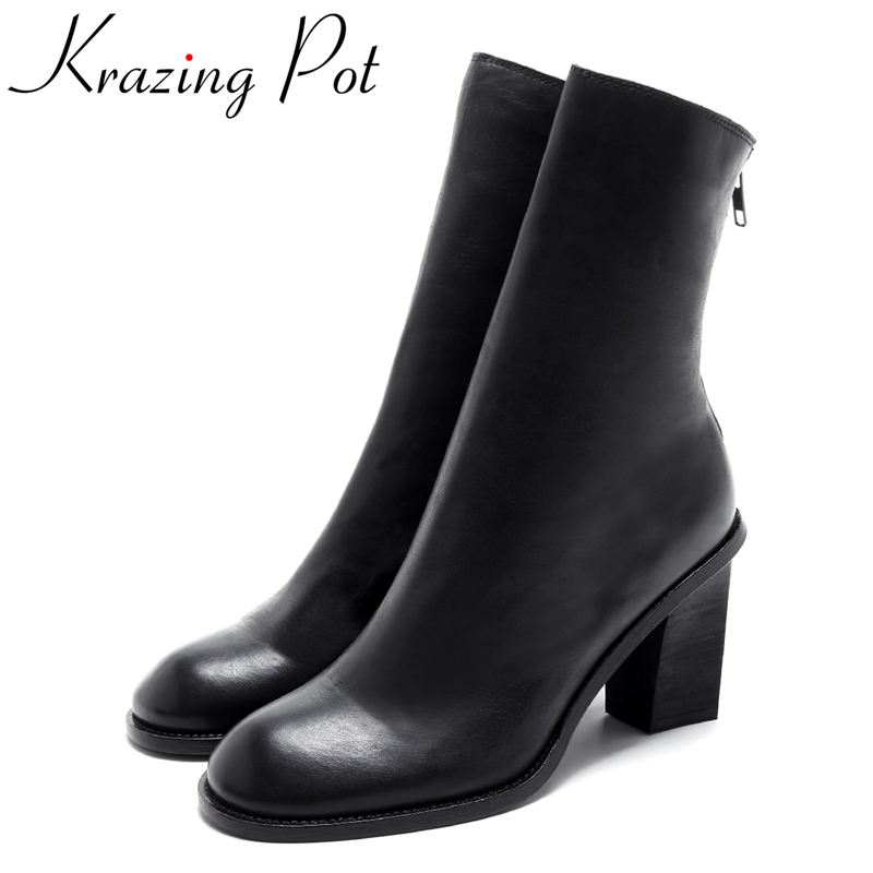 Krazing Pot new arrival genuine leather fashion winter boots classic thick heel motorcycle boots runway women Mid-Calf boots L58