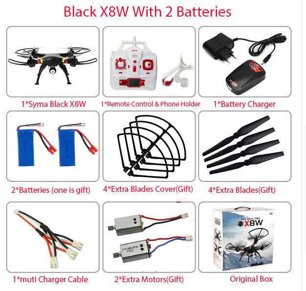 SYMA x8w & x8c FPV RC Drone 6-Axis Professional  Quadcopter With 2MP WiFi Camera RC Helicopter With Battery And 2 Motors As Gift