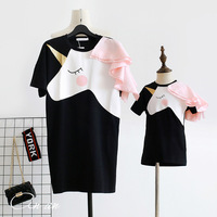 Matching Family Outfits Cotton Unicorn Print Mother Daughter Dresses Mommy and Me Short Sleeves Clothing Dress Family Look 2019