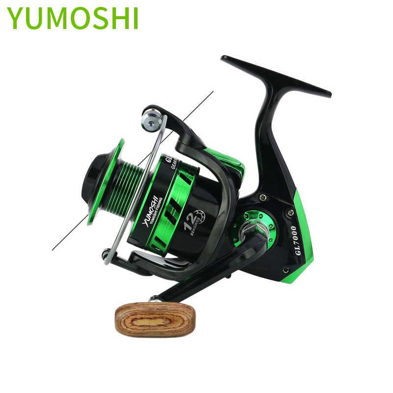 Yumoshi nieuwe 5.5: 1 12BB Molinete Karpervissen Reel Overbrengingsverhouding Big game Spinning Vissen rollen Feeder Carretilha de pesca