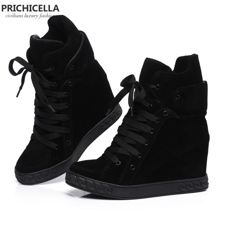 PRICHICELLA Quality women genuine leather lace up wedged ankle booties causal shoes