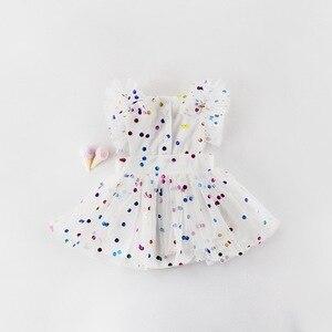 Image 3 - 도매 2019 여름 새 아기 소녀 공주 드레스 반짝이 화려한 폴카 도트 Guze 드레스 오버올 어린이 의류 E81016