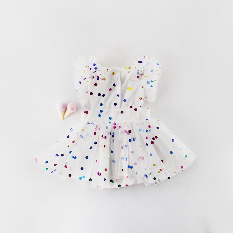 Image 3 - Wholesale 2019 Summer New Baby Girl Princess Dress Glitter  Colorful Polka Dot Guze Dress Overalls Kids Clothing E81016Dresses   -