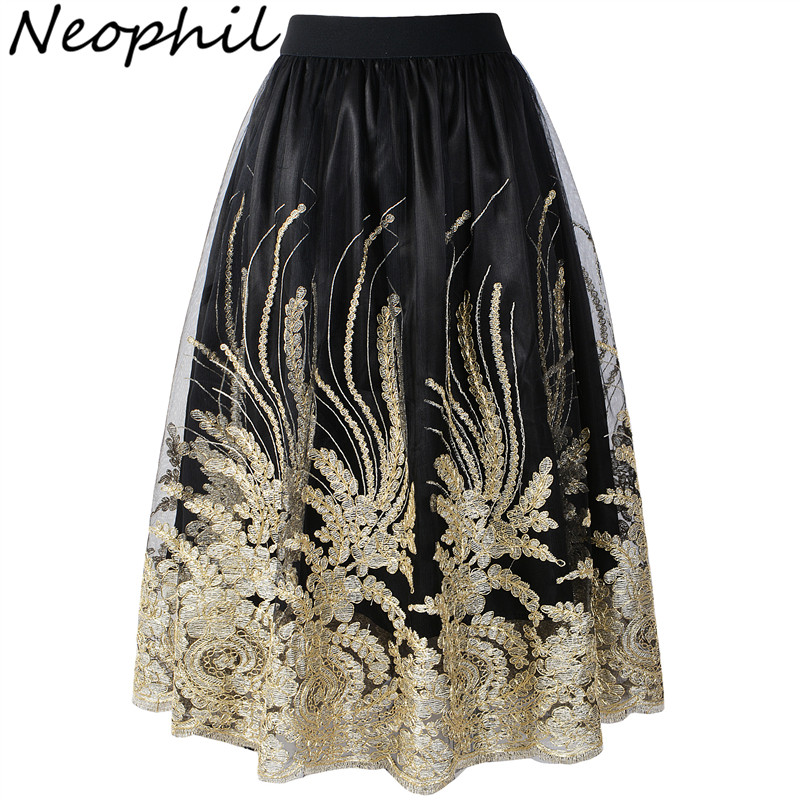 Neophil Retro Ladies Embroideried Floral Sequins Pinggang Tinggi Tulle Skirts Wanita 2019 Summer Ball Gown Mesh Jupe Tulle Femme S1710