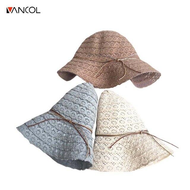 Vancol Bowknot Sombreros de Paja para Las Mujeres Summer Beach Sombrero de  Sol de Moda Panamá 1b62271d6b5