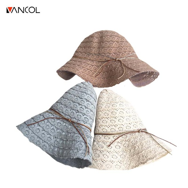 d2e8674b4 US $12.85 |Vancol Bowknot Straw Hats for Women Summer Beach Fashion Sun Hat  Floppy Wide Brim Foldable Panama hollow out lace Wide Brim Hat-in Sun Hats  ...
