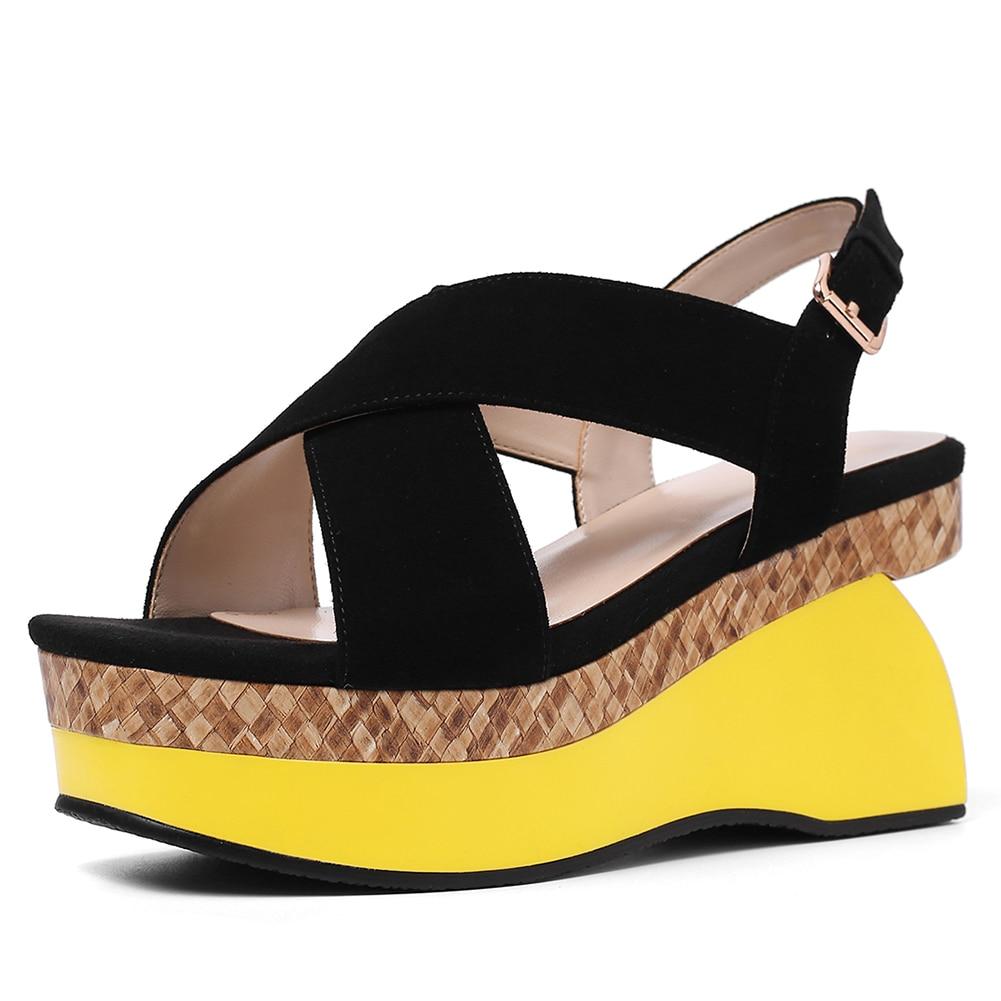 détaillant 89ff7 fbe86 Femme Sandales De Talons Mode Kid 2019 jaune Plate Marque ...