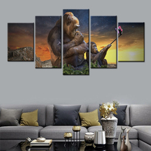 5 Pieces HD Print Painting Animal Wall Art Canvas Funny Gorilla Selfie pictures for living room poster