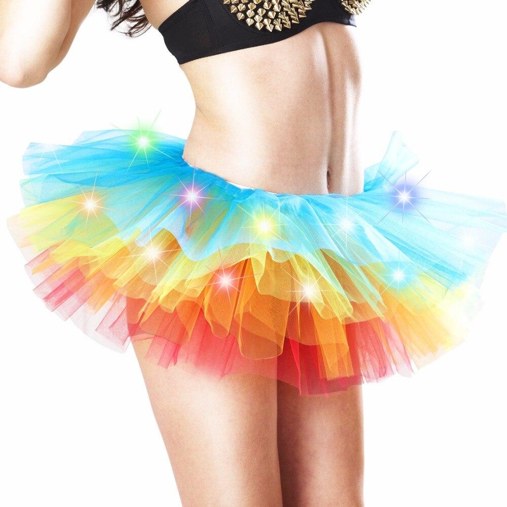 Adult dance Performance Skirt Colorful LED Tutu Skirts Up Neon Fancy Rainbow Fancy Costume light Mini Tutu Skirt