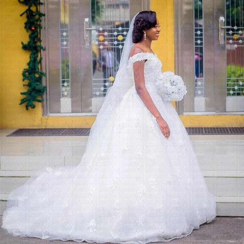 2019 New African Stunning Off the Shoulder Wedding Dress Ball Gown Bridal Gowns Vestido De Novia