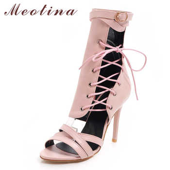 Meotina Women Gladiator Shoes Summer Sandals Buckle Stiletto High Heel Shoes Zip Cross Tied Open Toe Party Sandals Lady Size 46