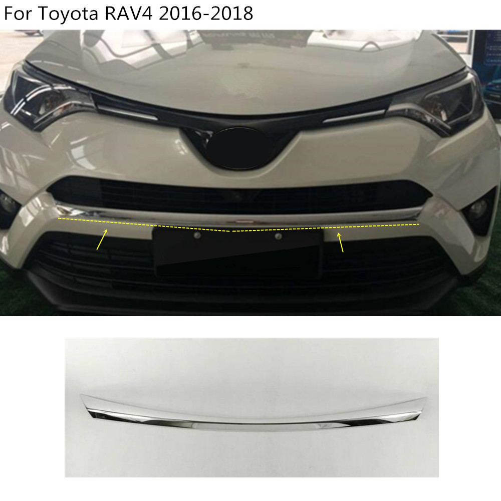 Car styling cover protection Bumper engine trim Front bottom Grid Grill Grille hoods edge 1pcs For toyota RAV4 2016 2017 2018 high quality for toyota highlander 2015 2016 car cover bumper engine abs chrome trims front grid grill grille frame edge 1pcs