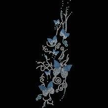 FS(2pc/lot)Swarm Of Butterflies hot fix rhinestone applique transfer motifs designs iron on