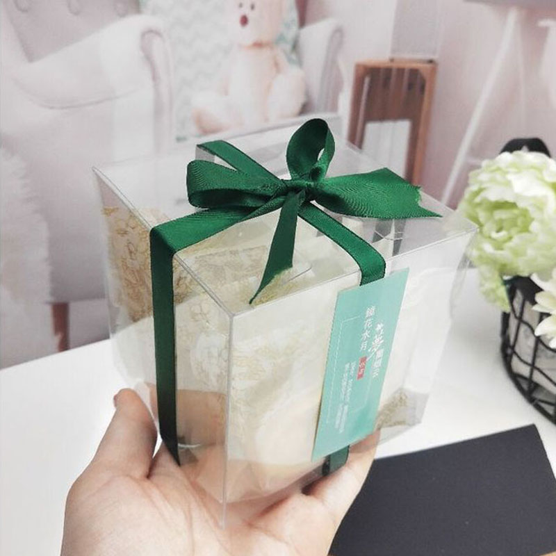 100pcs Square Rectangle Transparent Plastic Box Nougats Snowflake Cookies Crisp Green Bean Cake Packing Box Gift Box ZA6525