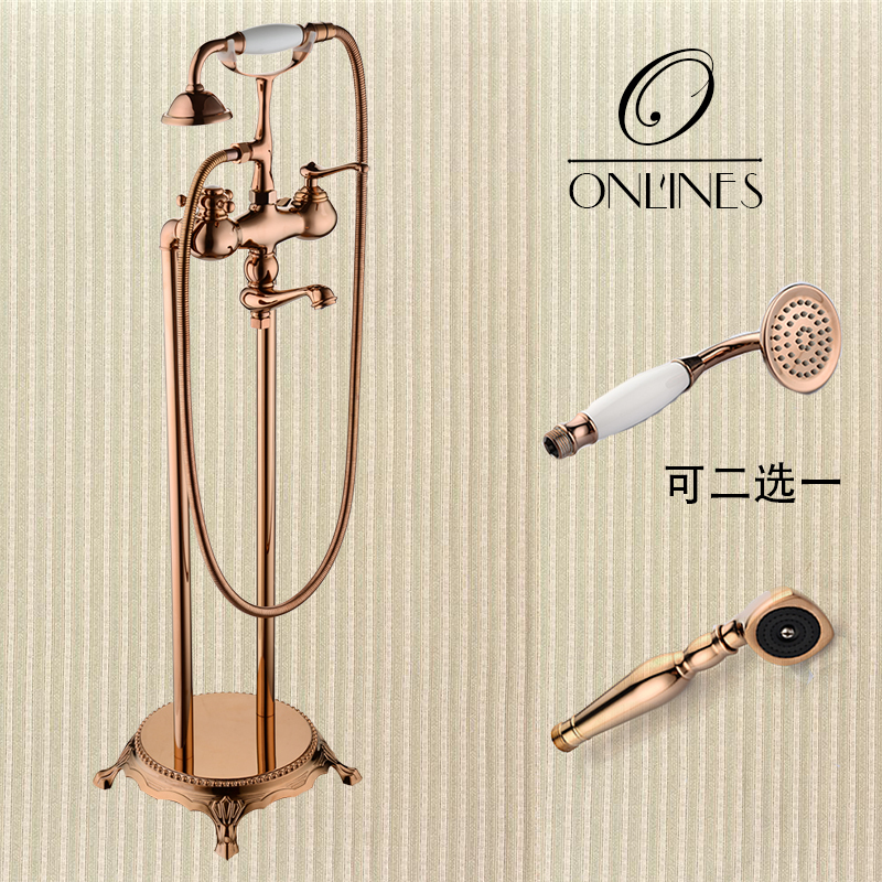German online European antique copper full-floor bathtub faucet shower faucet hot and cold rose gold european antique faucet full copper faucet hole washbasin faucet bathroom hot and cold taps
