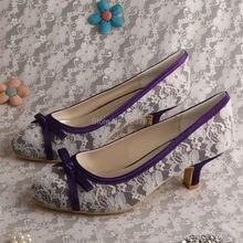 Wedopus MW519 Фиолетовый Атласная Кот Кружева Свадьба Свадебная Обувь Ручной работы Ближний Каблука Заказ