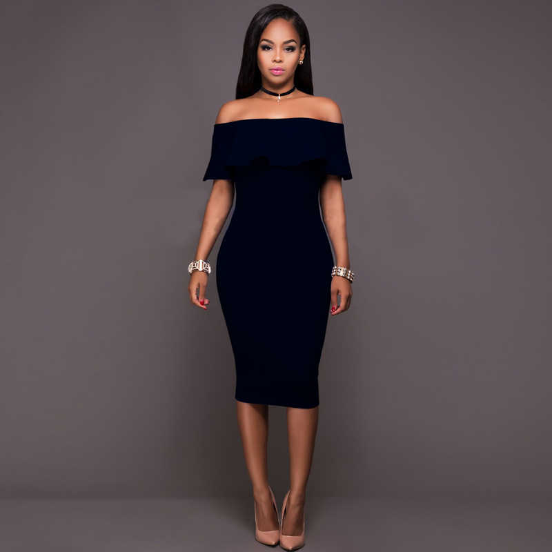 ... Fashion Women Dress Elegant Ruffle Off Shoulder Ruched Party Wear To  Work Fitted Stretch Slim Pencil ... abc809c2af76