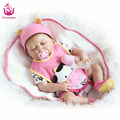 UCanaan 22 inch  50-56cm Sleeping Full Silicone Reborn Baby Dolls Toys With Cow Clothes Handmade Baby Girl Doll Gifts For Kids