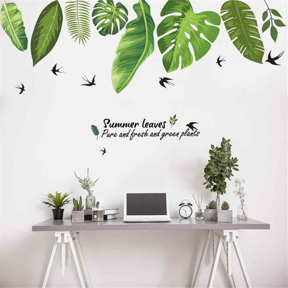 Home Tropical Jungle Green Leaves Wall Sticker Decoration Living Room Restaurant Seaside Plant Swallow Art Wall Mural Decal