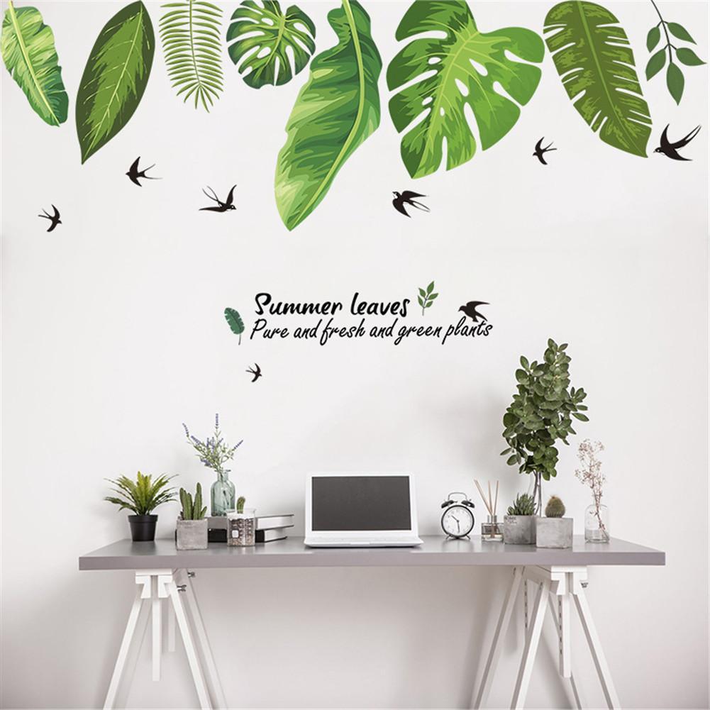 Maison tropicale Jungle feuilles vertes autocollant Mural décoration salon Restaurant bord de mer plante hirondelle Art Mural décalcomanie