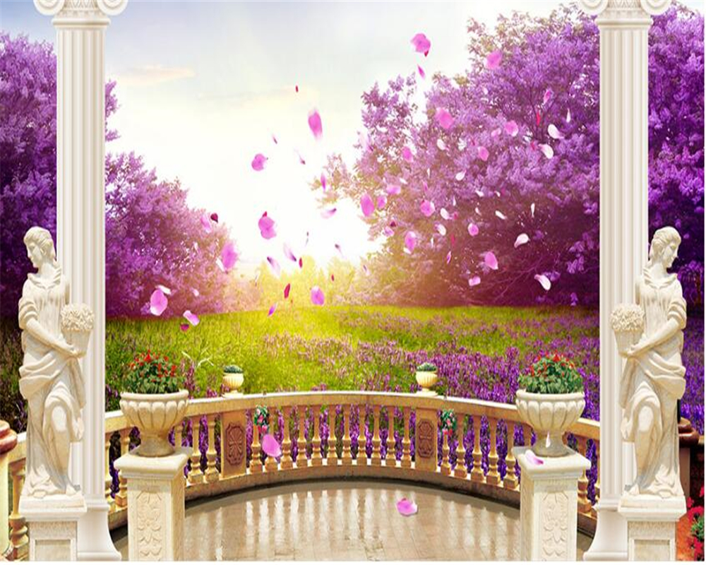 Beibehang Beautiful Fashion Wallpaper Outdoor Garden Cherry Blossoms TV Backdrop Painting Papel De Parede 3d Tapety In Wallpapers From Home