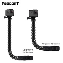 Mbajtës i qafës së rregulluar të qafës së fytyrës të rregullt FeoconT për pajisje Gopro 6 Aksesorë përkulës fleksibël Mount For Go Hero 5 4 Xiaomi Yi 4K SJCAM