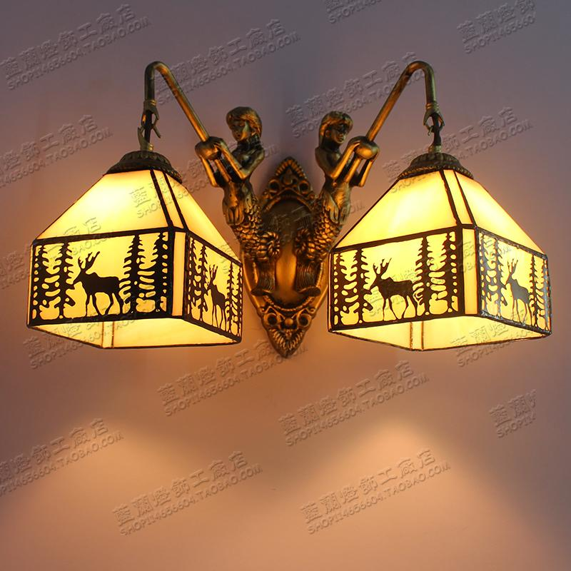 Tiffany American country wall lights stained glass garden Mermaid elk decorations 2 head bathroom wall lamps ZAG моторное масло motul garden 4t 10w 30 2 л
