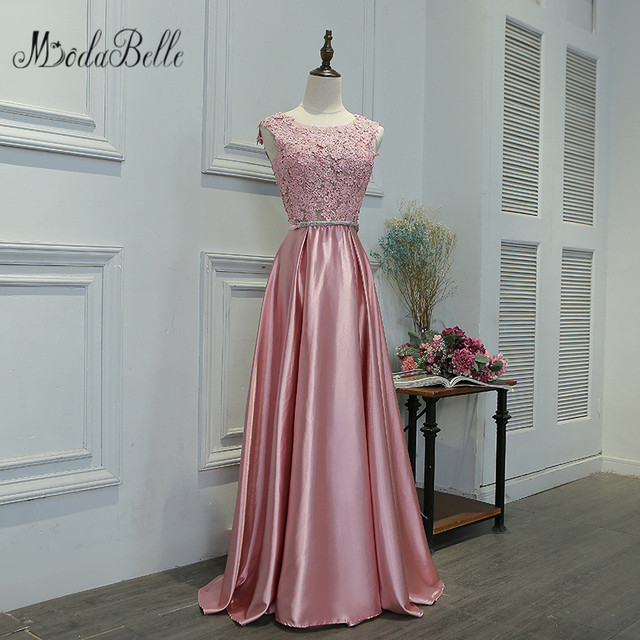 351f92ff7bf6 Modabelle 2017 Dusty Rose Pink Bridesmaid Dresses Demoiselle D'honneur Long  Wedding Party Dress For Bridesmaid Lace Prom Gowns