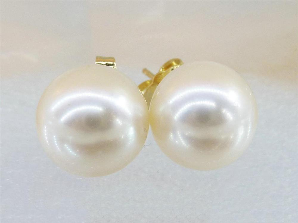 Gorgeous AAA++ 10mm White South Sea Round Pearl Stud Earring 14k gold Gift цены онлайн