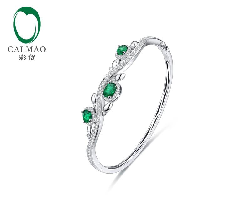 CaiMao Natural 1.28 ct Emerald 14KT/585 White Gold 1.12 ct Round Cut Diamond Jewelry Bracelet Gemstone caimao exquisite jewelry natural cabochon cut emerald baguette cut diamond 14kt white gold drop earrings