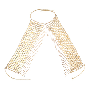 Image 5 - Boho Sexy Magnificent Metal Sequins Tassel Harness Necklace Bra Chain Women Jewelry Bikini Metal Alloy Statement Body Chain