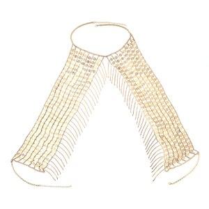 Image 5 - Đời Boho Gợi Cảm Tráng Lệ Kim Loại Kim Sa Lấp Lánh Tua Rua Dây Vòng Cổ Áo Ngực Dây Chuyền Nữ Trang Sức Bikini Kim Loại Hợp Kim Tuyên Bố Dây Chuyền Toàn Thân