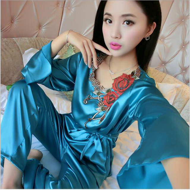 7d07fbb2e 2016 Autumn Spring Lace Thin Long Sleeves Long Pants Sexy Soft Silk Pajamas  HomeWear For Women
