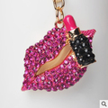 Sexy lipstick crystal lips keychain/new 2015 luxury jewelry women accessories/chaveiro feminino llaveros women/porte clef strass