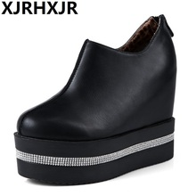 XJRHXJR Fashion Women Thick Bottoms Shoes Round Toe Solid Color Wedges Pumps Platform Footwears Size 34-40