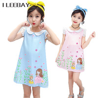 Hot Sale Little Girl Floral Princess Dress Kids Chiffon Cute Girl Print Fly Sleeve Party Dress Children Cotton Clothes Costume