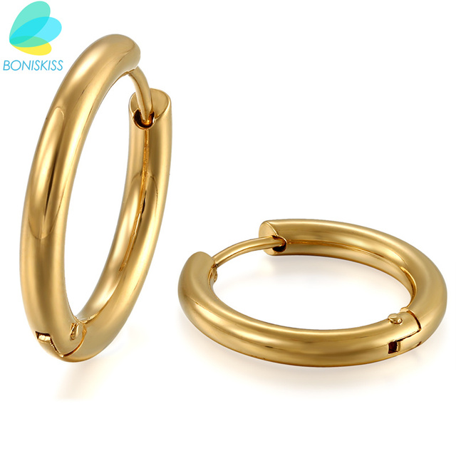 Boniskiss Hoop Men Earrings Brand Earring Gold Color Stainless Steel Elegant For Women Jewelry Penntes