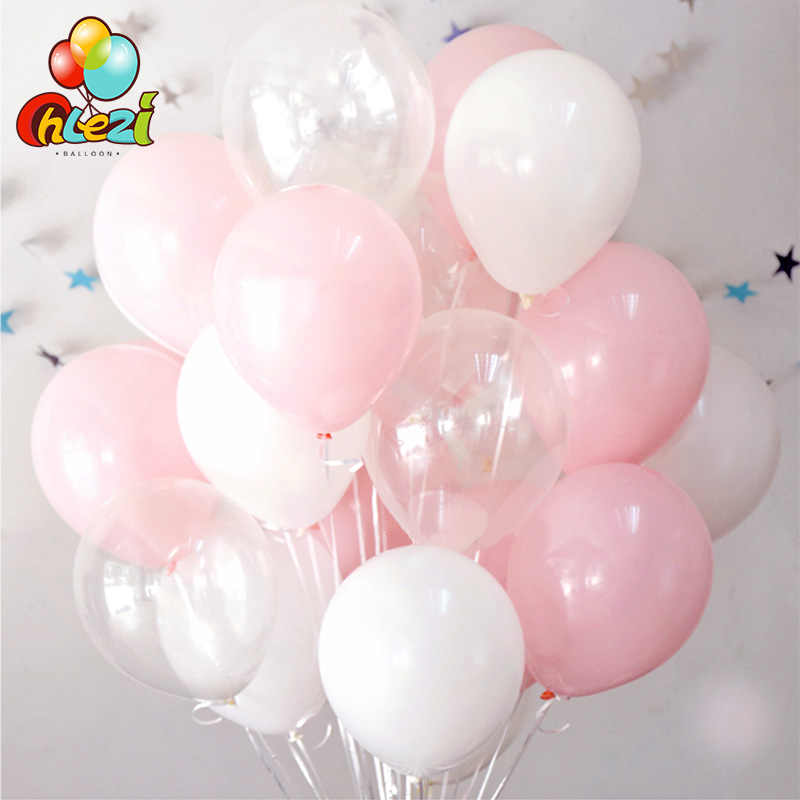 30pcs 2.3g Pink White 2.8g Transparent Latex Helium Balloons Happy Birthday Party Supplies Baby Shower Wedding Decor Ballons