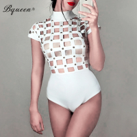 Bqueen Sexy Bandage Club Party Women Bodysuits Hollow Out Rivet Skinny Romper Solid Fashion Summer Party Club Bodysuits 2017