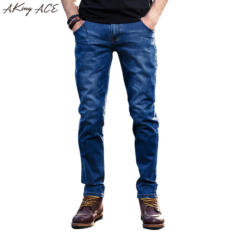 2017 AKing ACE Mens casual jeans denim pants brand blue jeans slim stylish trousers jeans men straight pockets patchwork ,ZA254 2017 new designer korea men s jeans slim fit classic denim jeans pants straight trousers leg blue big size 30 34