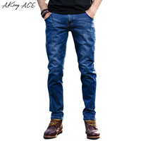 2017 AKing ACE Mens casual jeans denim pants brand blue jeans slim stylish trousers jeans men straight pockets patchwork ,ZA254