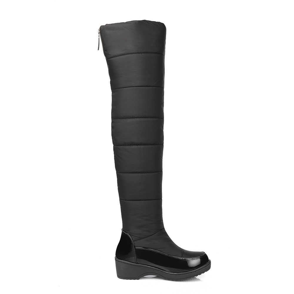 f2d4feaf463c ... Odetina Warm Cotton Snow Boots Black Over The Knee Long Boots Womens  Thigh High Boots Waterproof ...