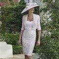 Real Photo Vestido Na Altura Do Joelho-Comprimento com Jaqueta de Mãe Das Noivas vestidos mãe do noivo 2016 vestido de madrinha vestido Formal desgaste Z061