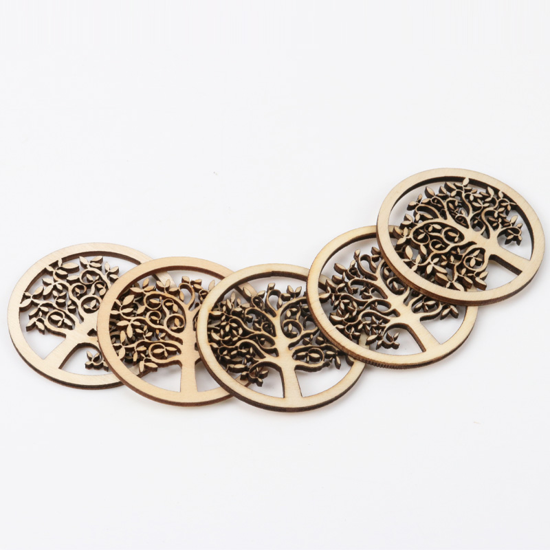 Natural Tree Pattern Wooden Scrapbooking Art Collection Craft For Handmade Accessory Sewing Home Decoration 50mm 10pcs