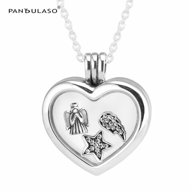 Glass Heart Locket Silver Necklace with Angel Wing Star 3 Small Petites Charm Silver 925 Jewelry DIY Women Necklaces & Pendants