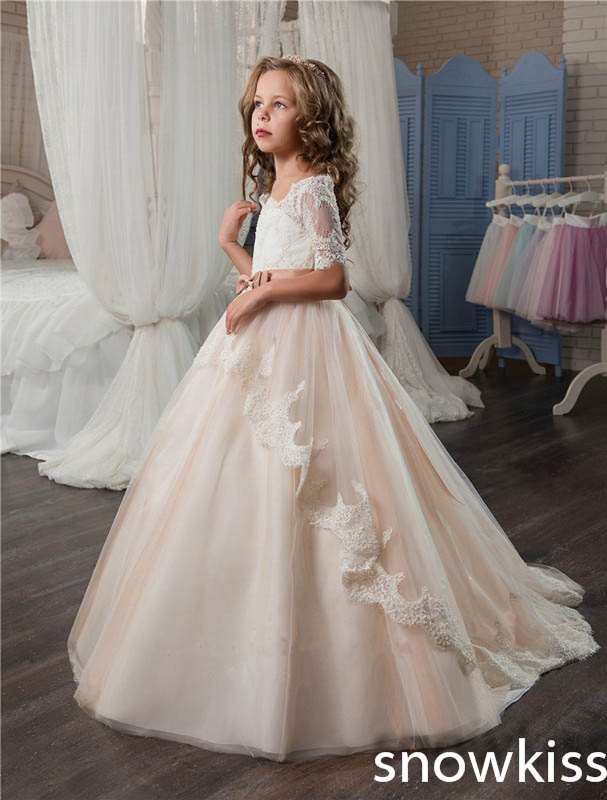 2017 champagne vintage first communion dress with lace appliques ball gown flower girl dresses children pageant prom dresses