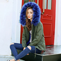 2016 New Korean Star With Fur Coat Jacket Padded artificial fur hood and linning Military fashion trends female parkas