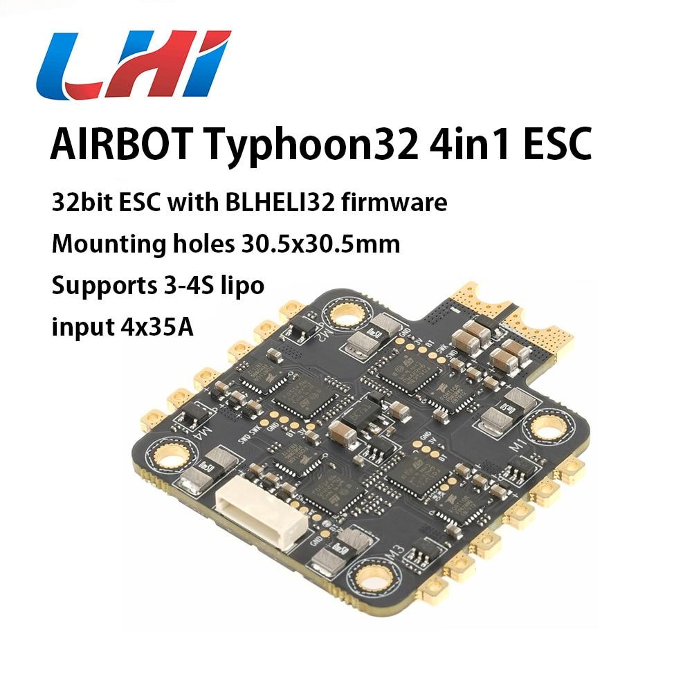 LIH AIRBOT Brushless Blheli32 bit ESC 4x35A Typhoon32 4in1 ESC Supports BLHELI32 firmware Sensor,DSHOT 1200, For Fpv Quadcopte airbot brushess esc ori 4in1 4x25a 2020 supports dshot 600 blheli s 25a built current sensor brushed esc 30a for fpv quadcopter