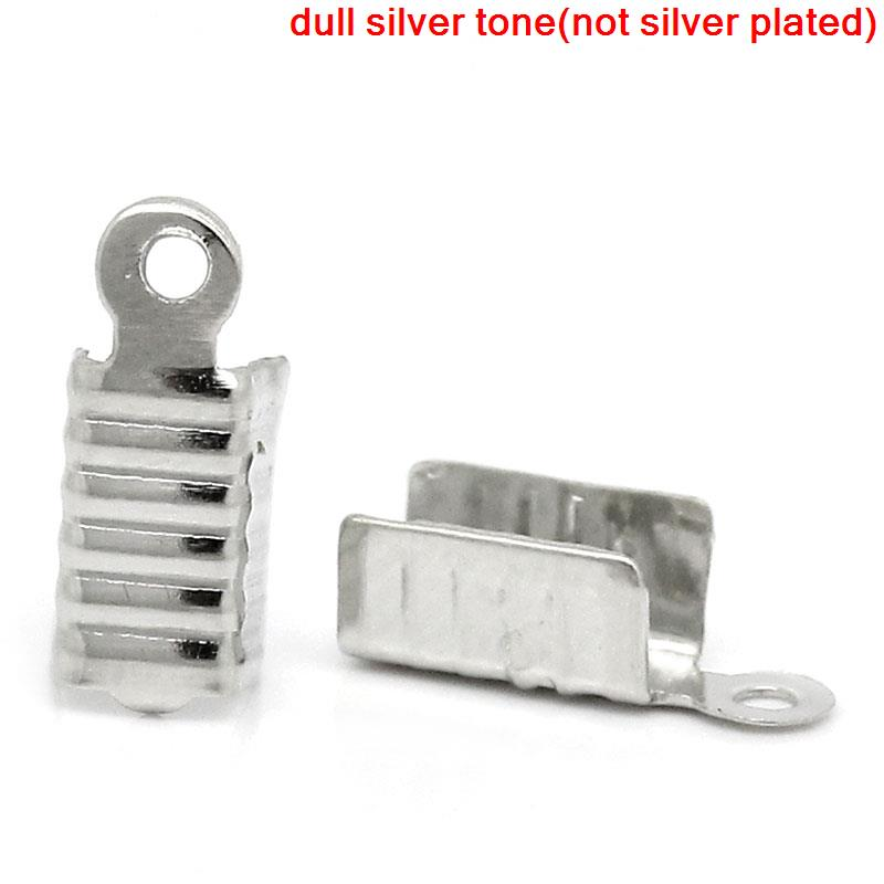 Zinc Metal Alloy Necklace Cord End Tips Rectangle Antique Silver 12mm( 4/8