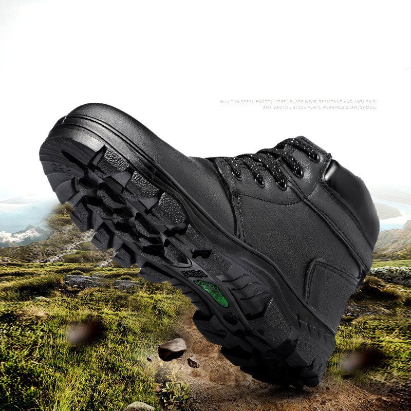 Genuine Leather Boots Men Winter Safety Shoes for Men Velvet Warm Snow Boots Cold-proof Steel Toe Shoes Waterproof Work Boots